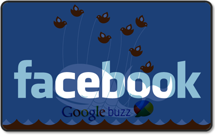 Google Buzz: a hybrid between the Facebook share feature and Twitter.